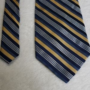 Shades of Blue and Gold Striped Calvin Klein Tie